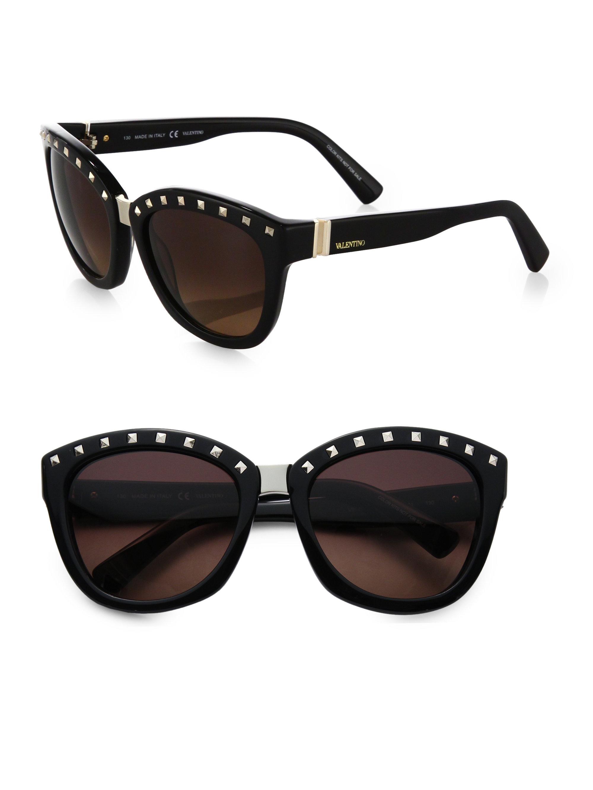 valentino square studded sunglasses in black lyst