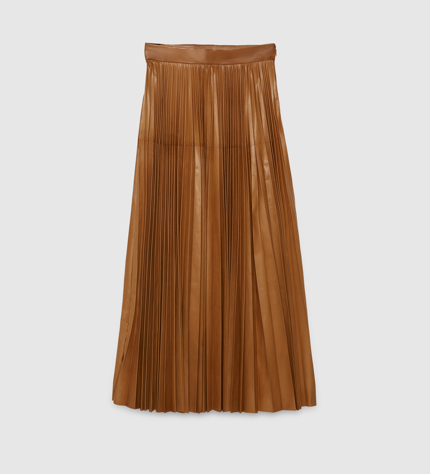 Gucci Pleated Leather Skirt in Brown | Lyst