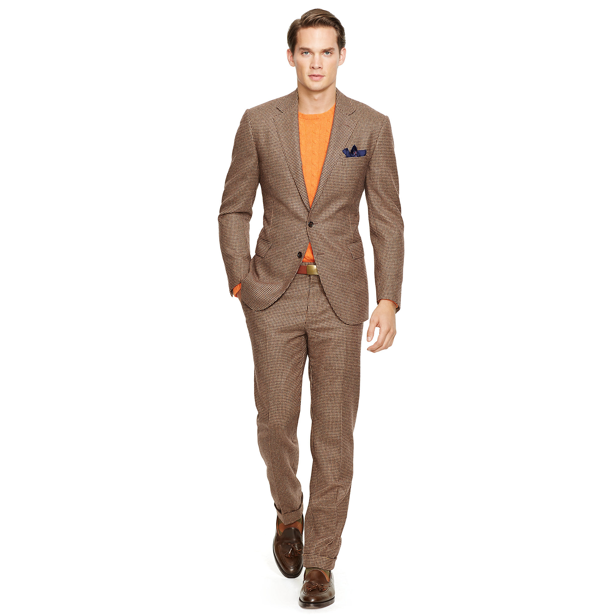 Polo ralph lauren Bedford Houndstooth Wool Suit in Brown for Men ...