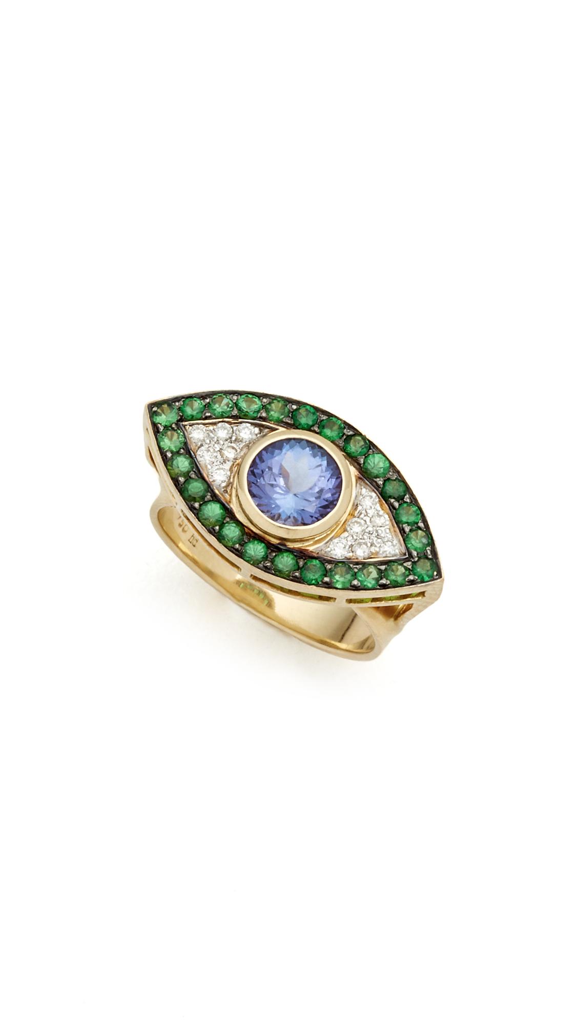 dyment evil eye ring gold in metallic lyst
