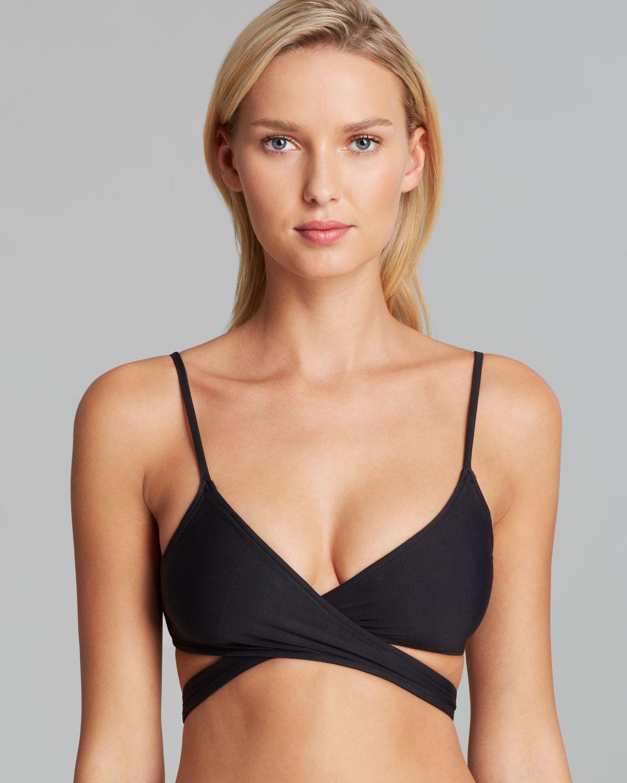 b8b459b5245bc L*Space L*space Chloe Wrap Bikini Top in Black - Lyst