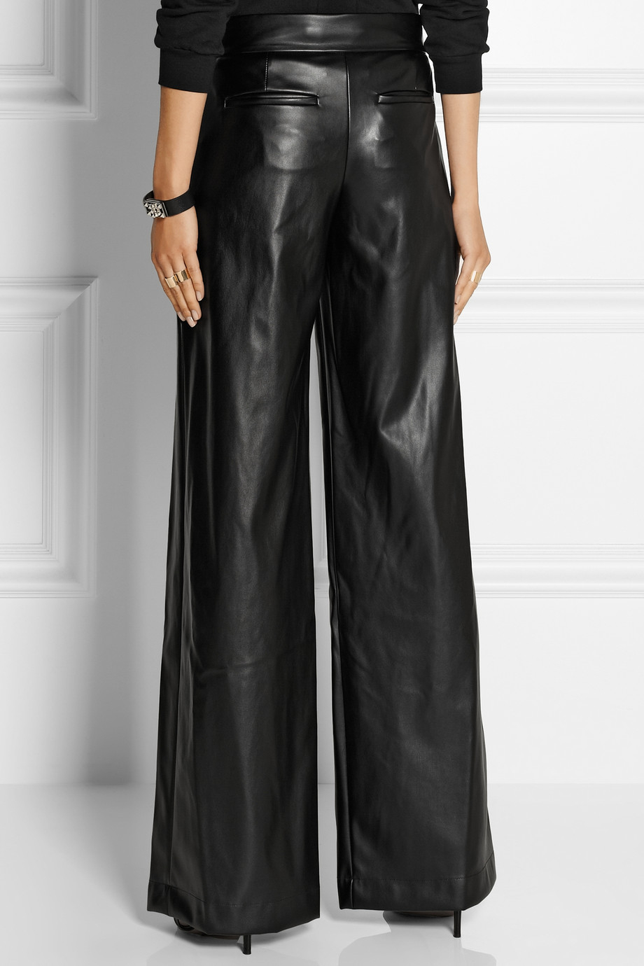 Dkny Faux Leather Wide-Leg Pants in Black | Lyst