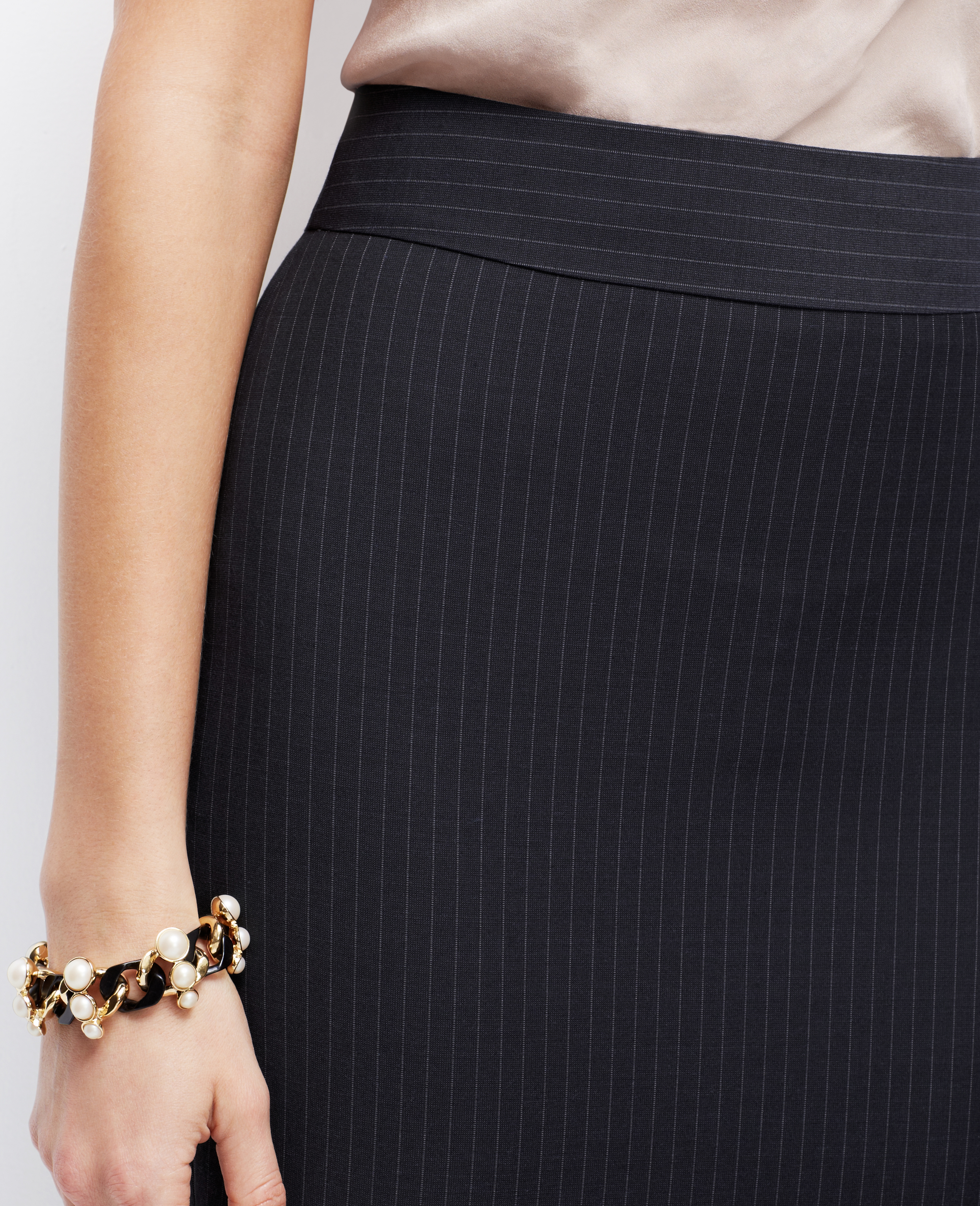 Ann taylor Petite Pinstripe Pencil Skirt in Blue | Lyst