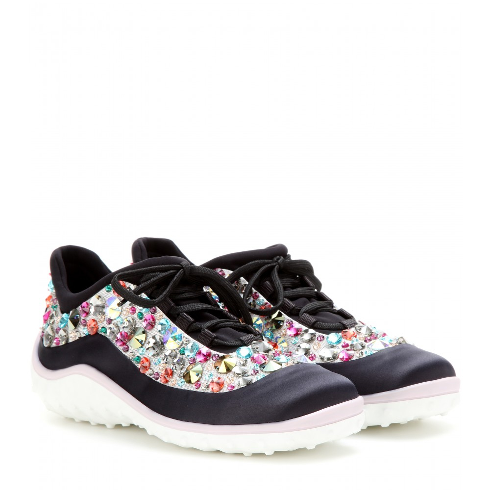 miu miu embellished sneakers lyst. Black Bedroom Furniture Sets. Home Design Ideas