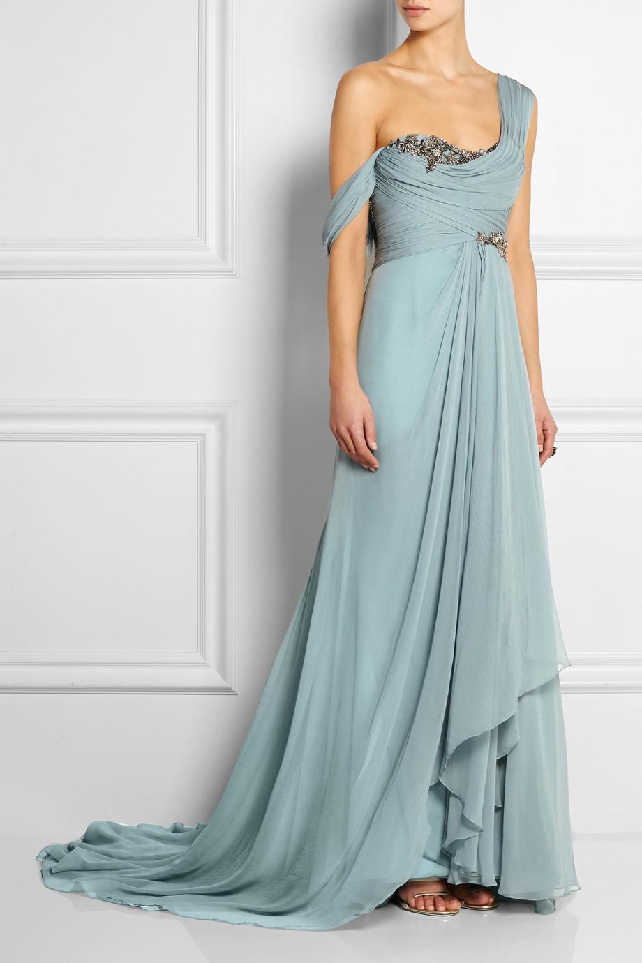 Lyst Marchesa One Shoulder Embellished Silk Georgette