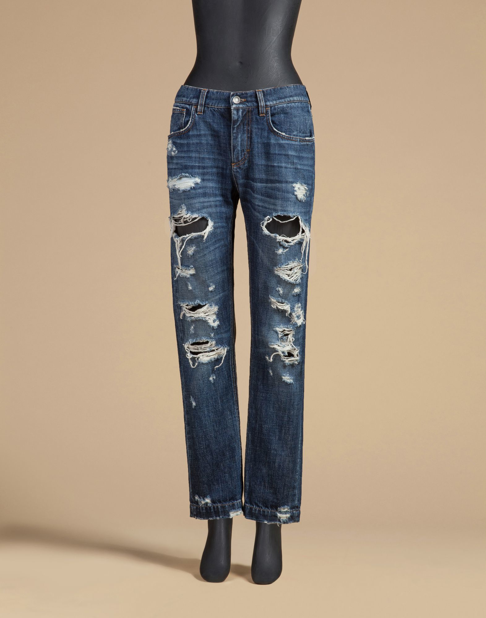 Dolce & gabbana Boyfriend Fit Jeans In Non Stretch Denim With ...