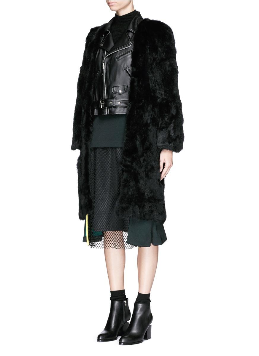 2e3e6335c30e8 Toga Leather Biker Insert Rabbit Fur Coat in Black - Lyst