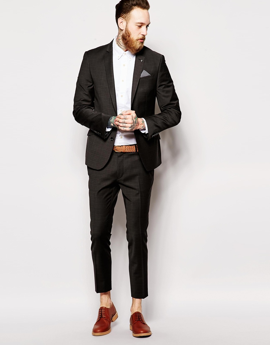 Asos Super Skinny Fit Suit Trousers In Check in Gray for Men | Lyst