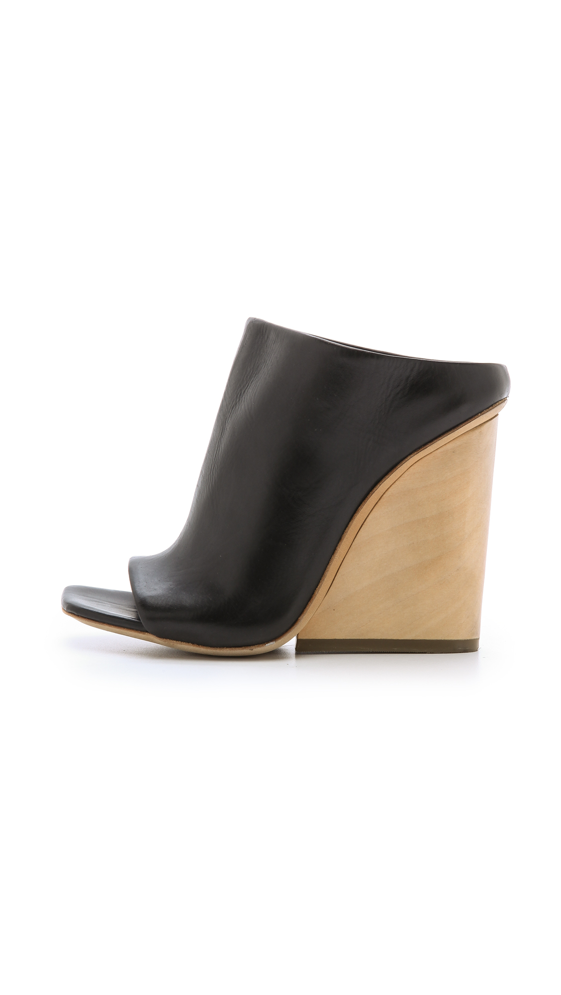 Lyst Vic Matié Open Toe Wedge Mules Black In Black