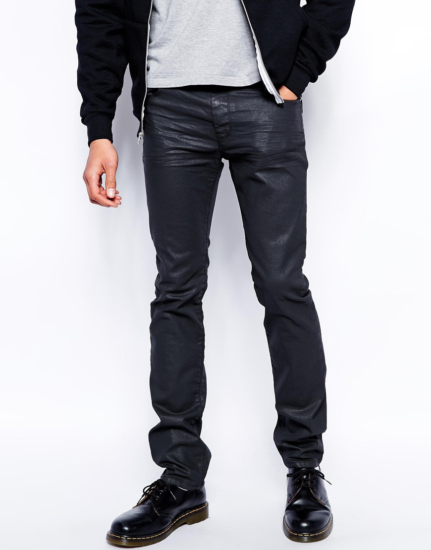 Love moschino Slim Fit Jeans In Black Coated in Black for Men | Lyst