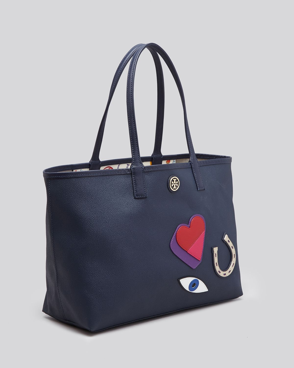 a2d1ccecb06 Lyst - Tory Burch Tote - Kerrington Applique Shopper in Blue