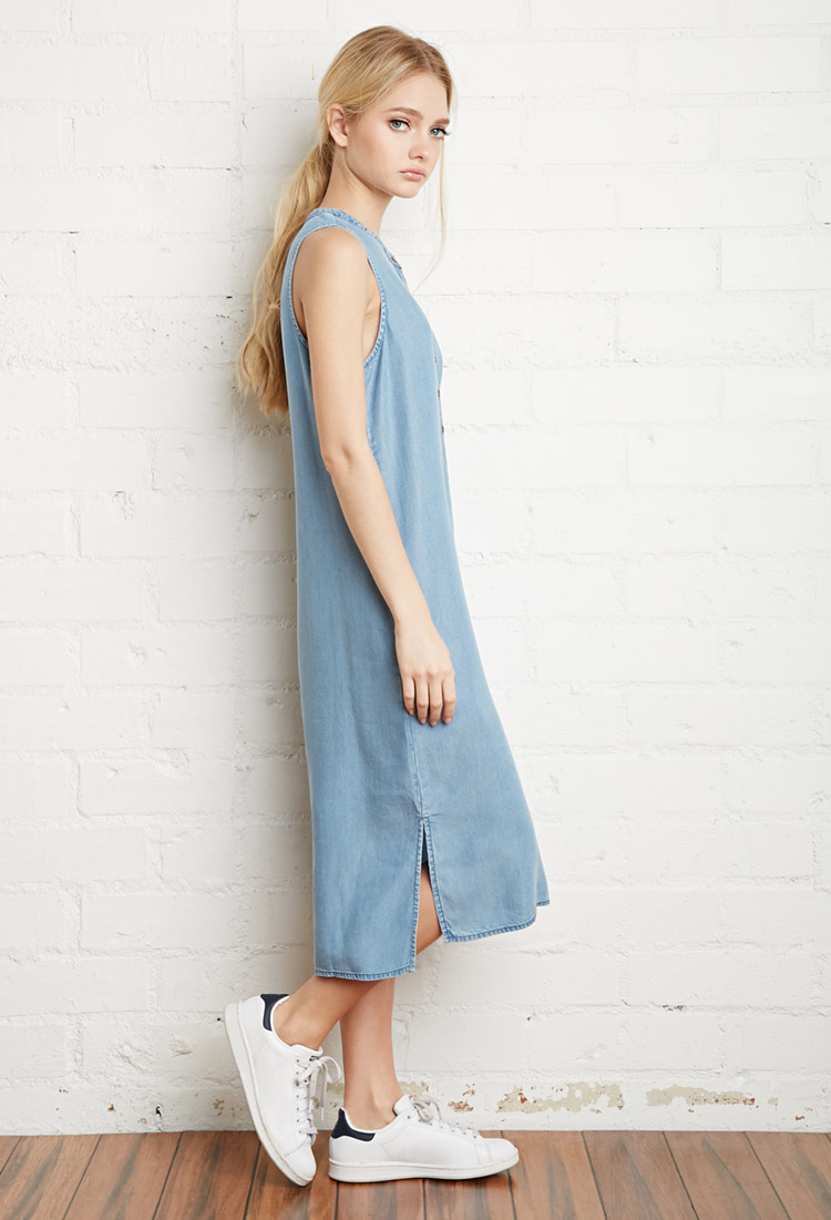 Forever 21 Chambray Midi Dress in Blue