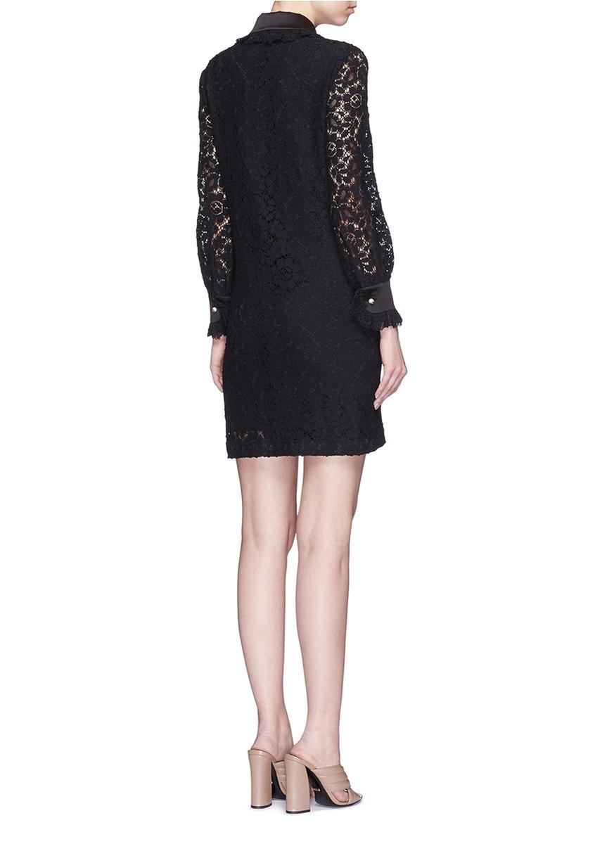 4d6a54d8f Lyst - Gucci Cluny Lace Satin Trim Dress in Black