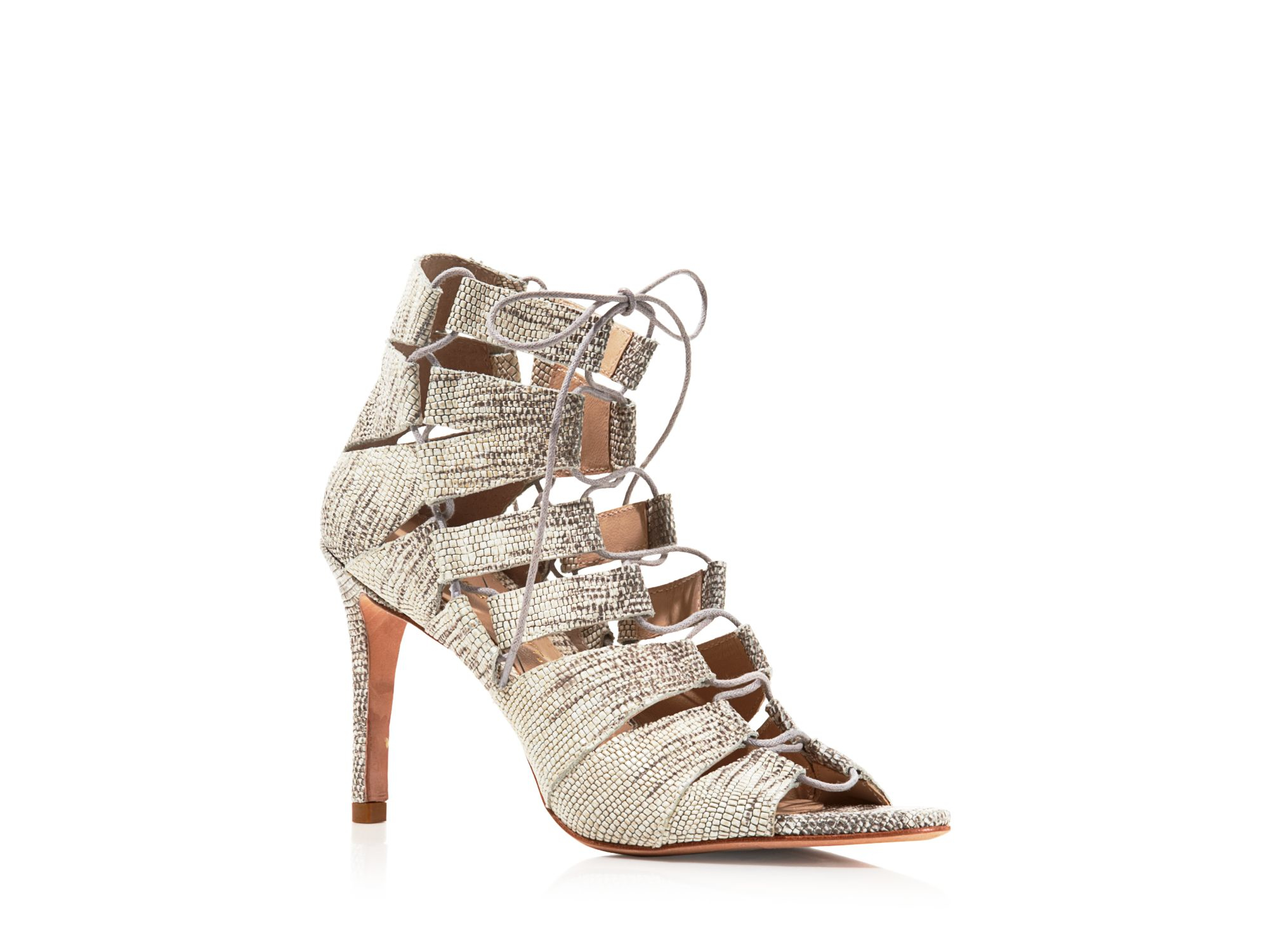Loeffler Randall Embossed Leather Lace-Up Sandals store cheap online under $60 for sale igPt0mBY