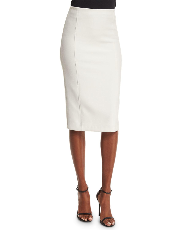 jarrett seamed pencil skirt in white lyst
