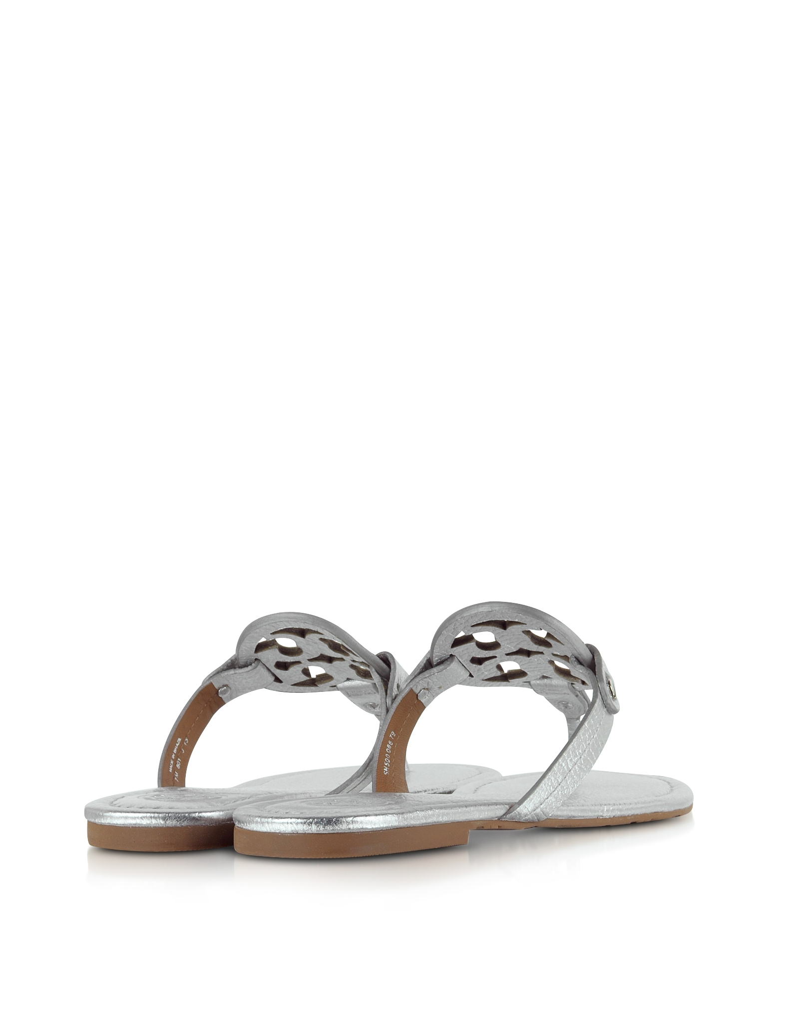 Tory Burch Miller Metallic Silver Leather Sandal In