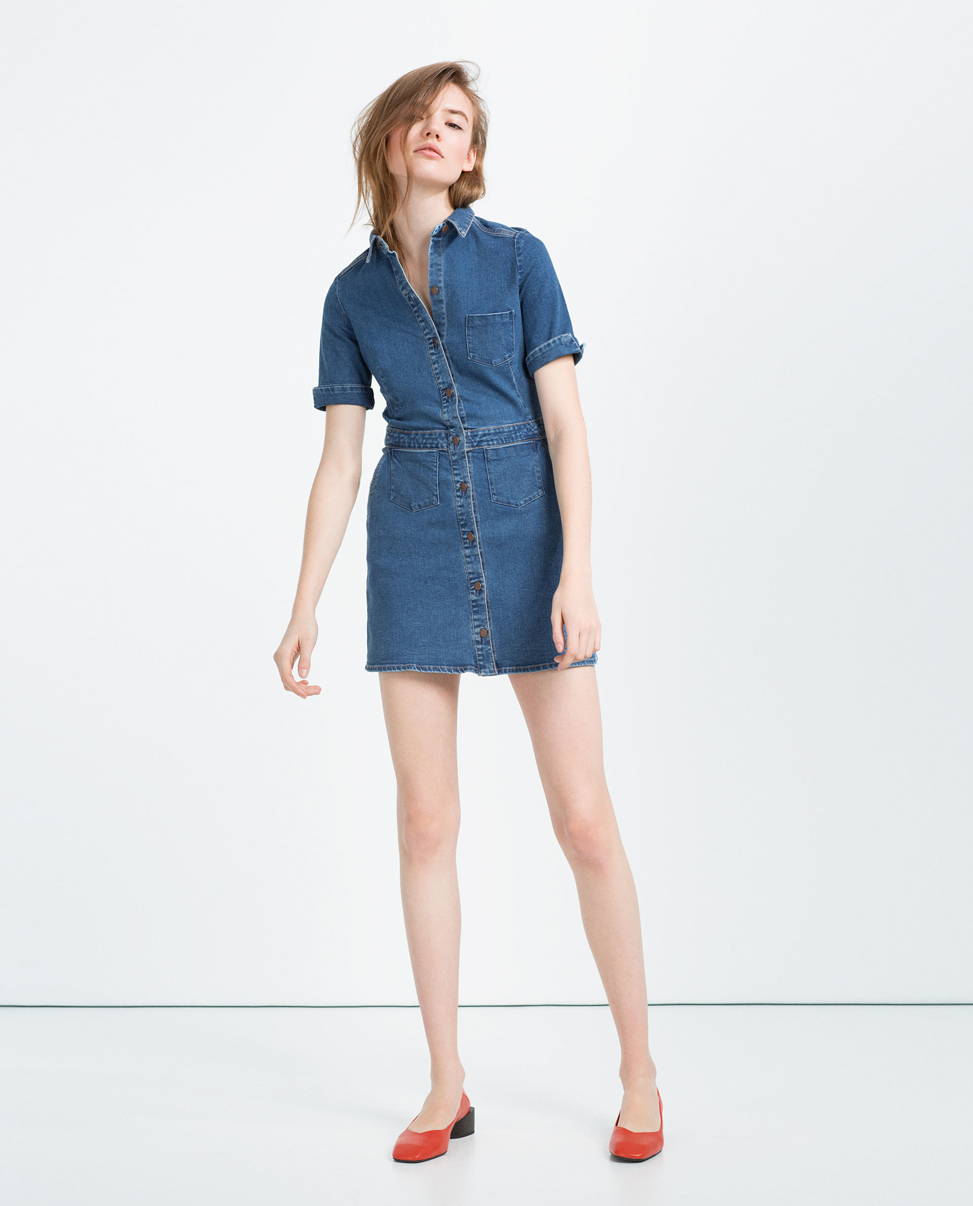 Zara Denim Mini Dress in Blue
