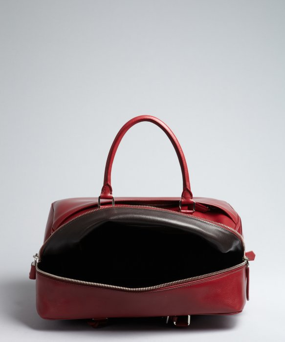 Prada Red Leather Large Zip Travel Bag in Red for Men | Lyst