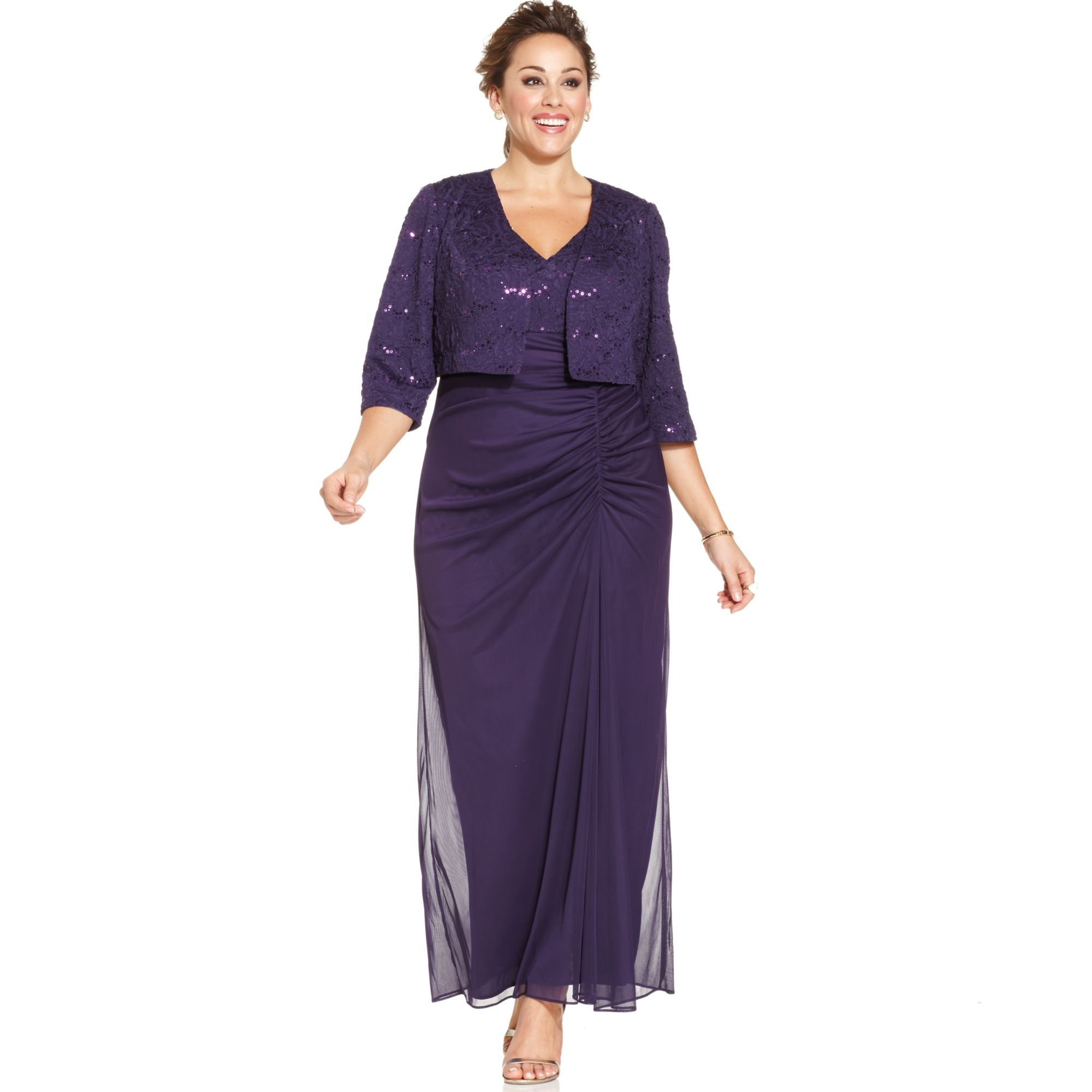 85c504396cf Lyst - Alex Evenings Plus Size Sequinlace Ruched Gown and Jacket in ...