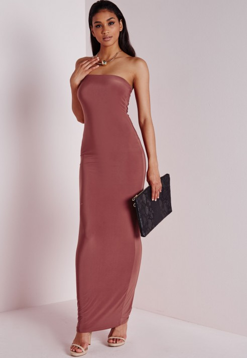 Missguided Slinky Tube Dress Dark Pink in Pink - Lyst