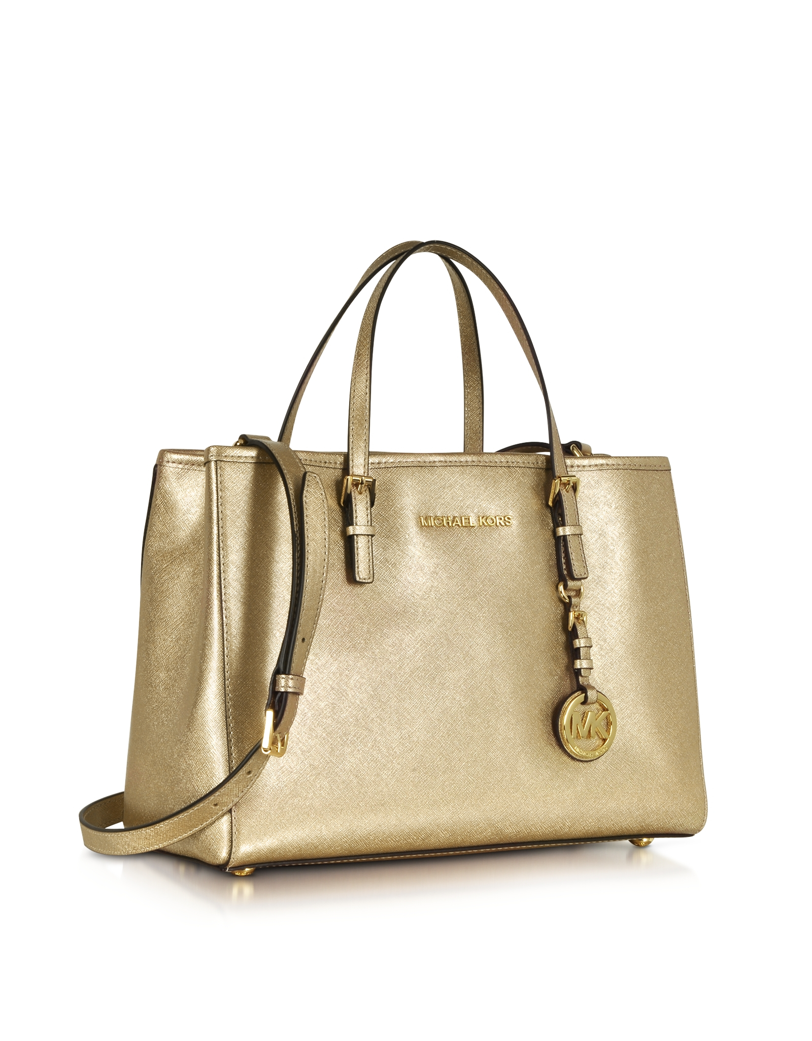 4cbbba57c2bb ... top quality lyst michael kors jet set travel pale gold metallic saffiano  ce092 da711