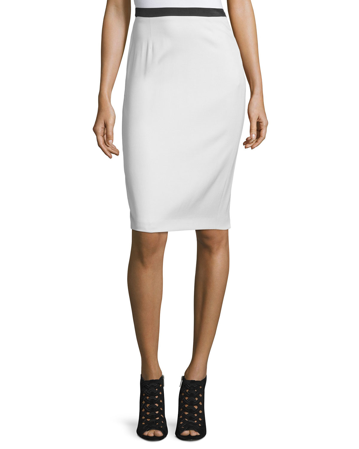 costume national contrast waist pencil skirt in white lyst