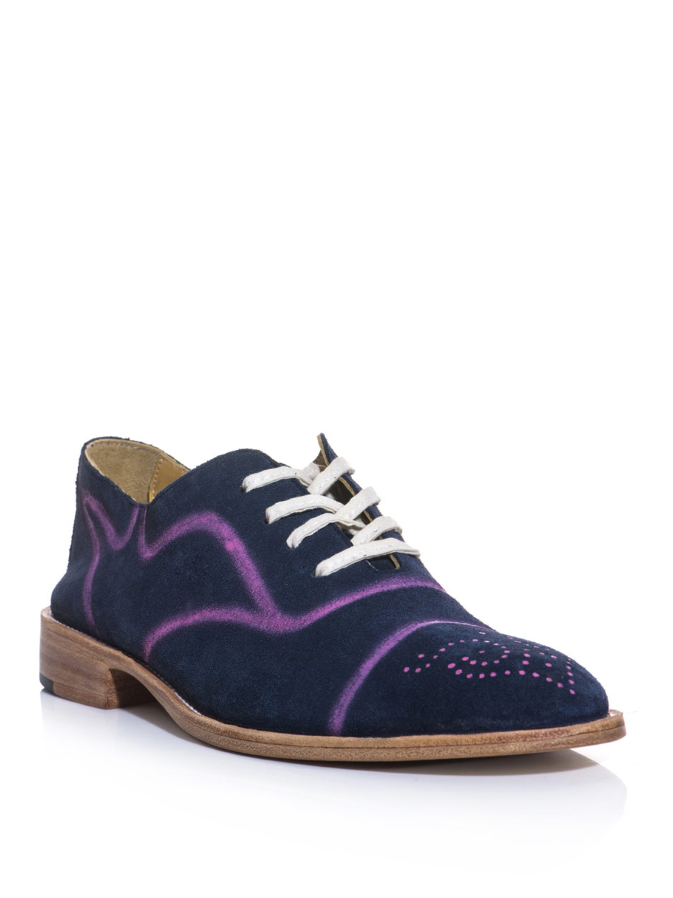 esquivel spray paint suede brogue shoes in blue lyst