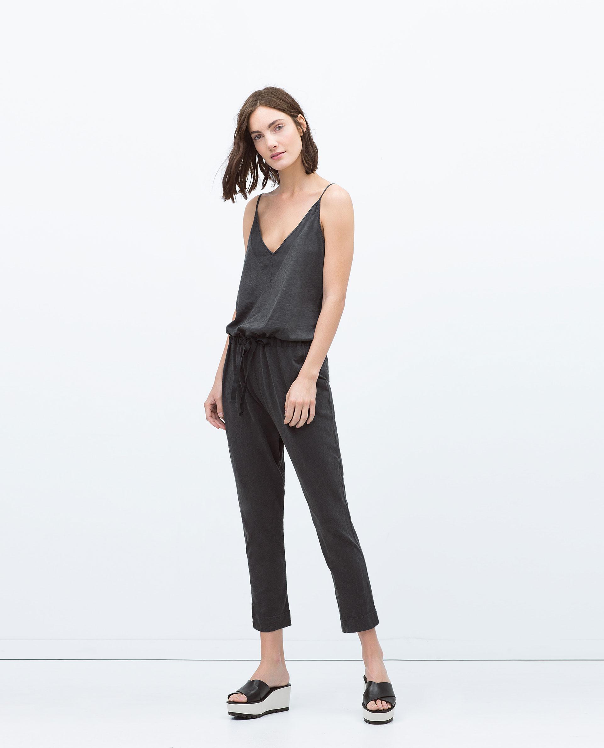 Cool Zara Racerback Jumpsuit In Black  Lyst