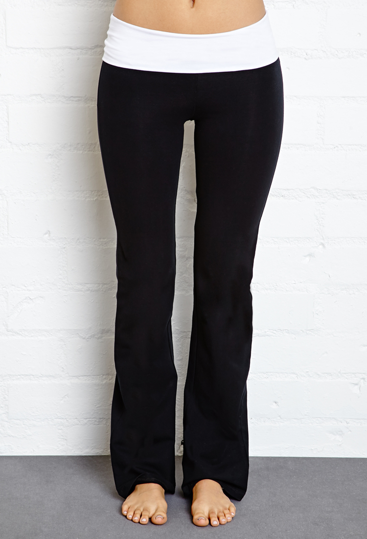 Forever 21 Fold-Over Yoga Pants in Black | Lyst