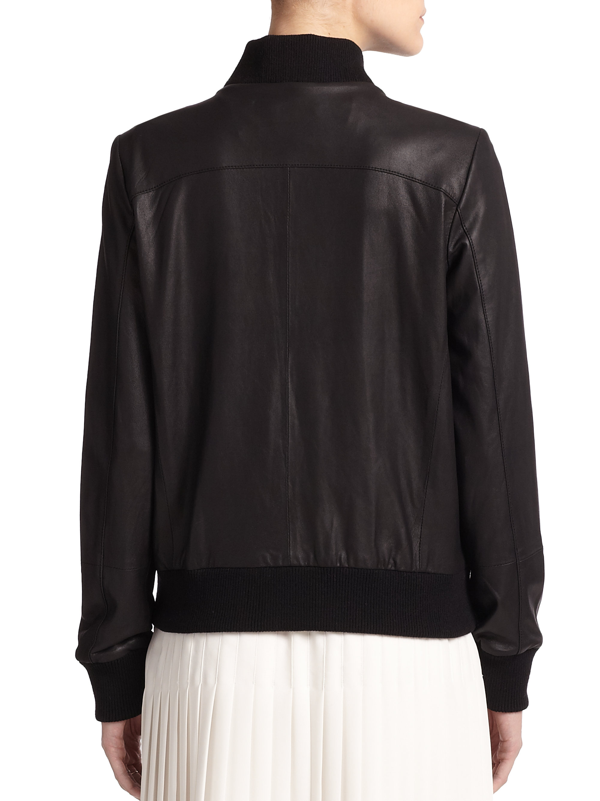 3414bcc2683 Lyst - Vince Leather Bomber Jacket in Black