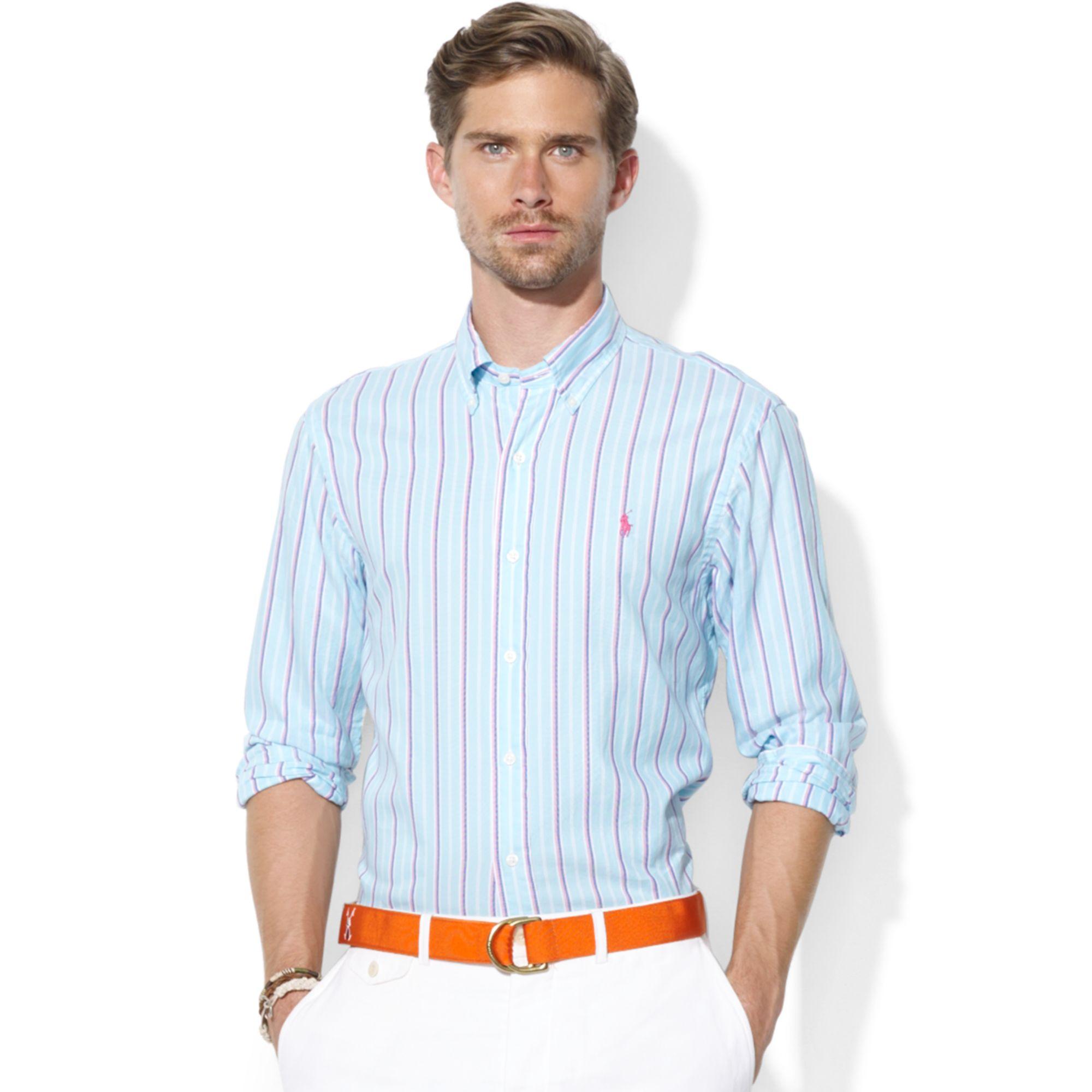 Lyst Ralph Lauren Customfit Longsleeve Striped Oxford