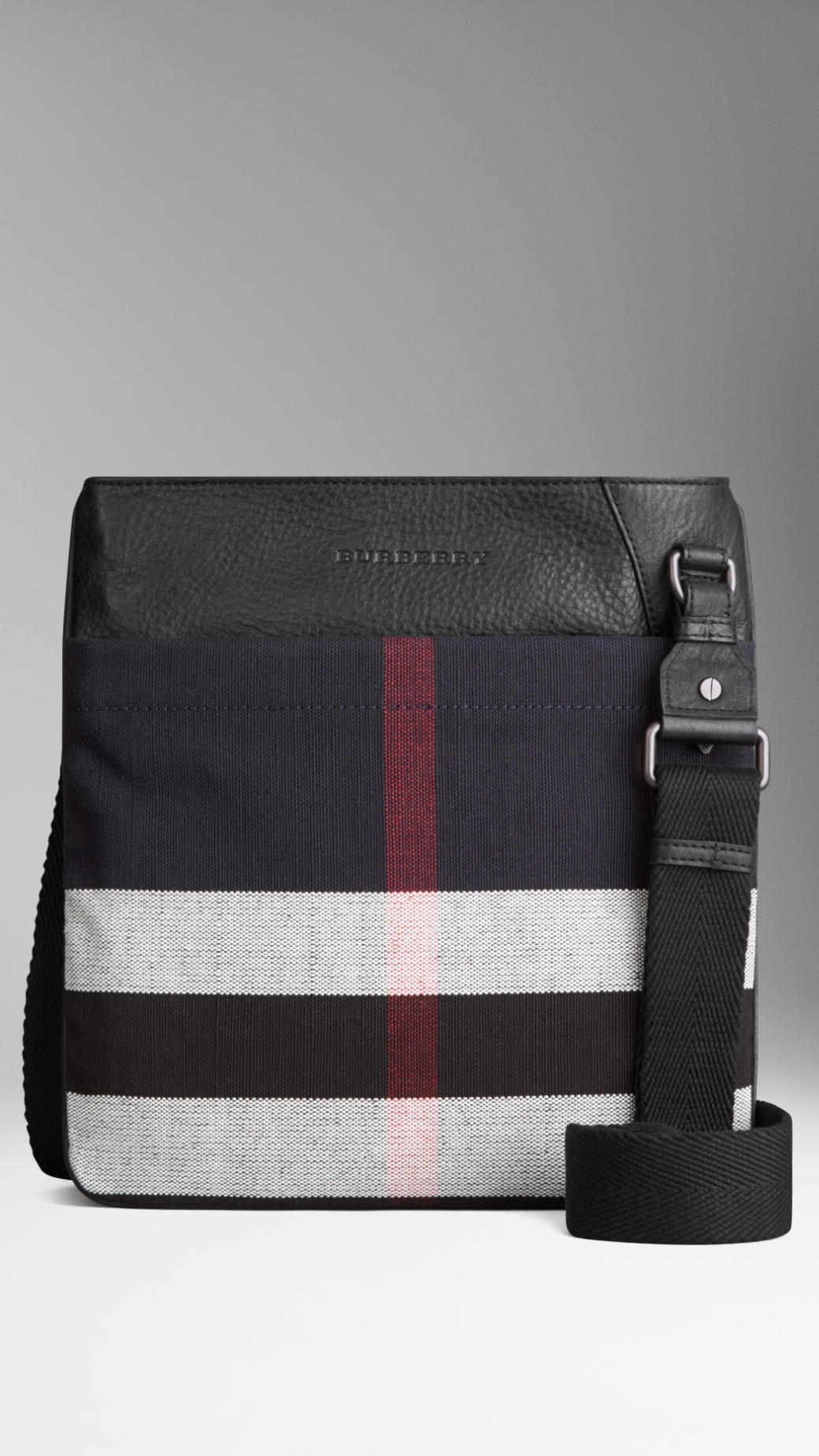 Burberry Canvas Check Crossbody Bag In Black For Men Lyst