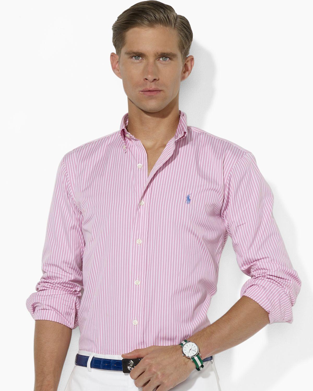 afb94372 Ralph Lauren Polo Customfit Striped Cotton Poplin Shirt in White for ...