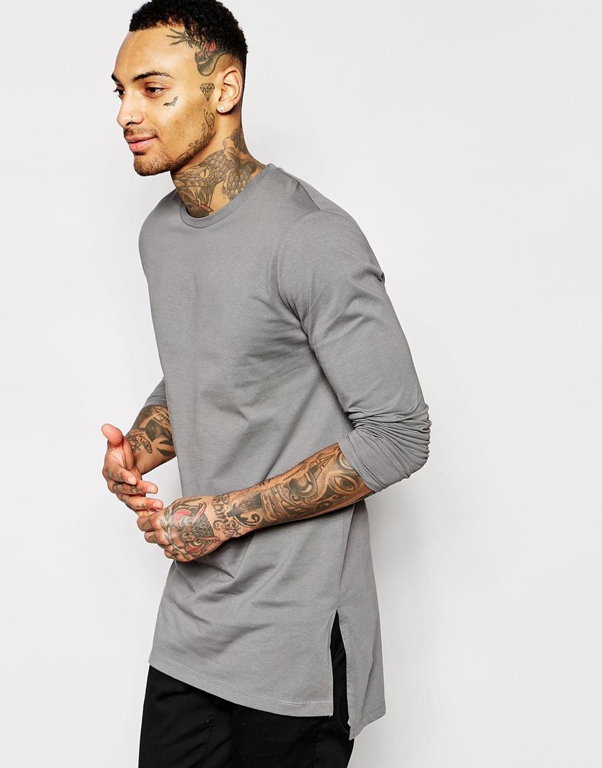 f7791cd7 ASOS Longline Long Sleeve T-shirt With Side Splits in Gray for Men ...