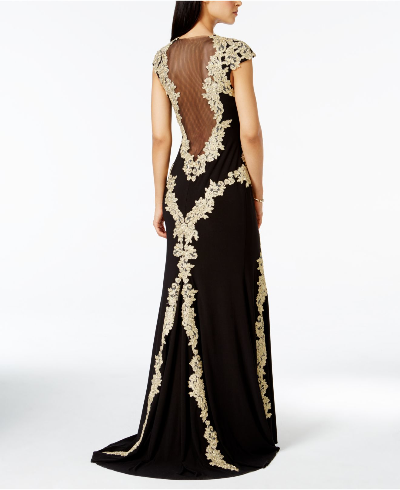 Lyst - Betsy & Adam Petite Lace Keyhole Gown in Metallic