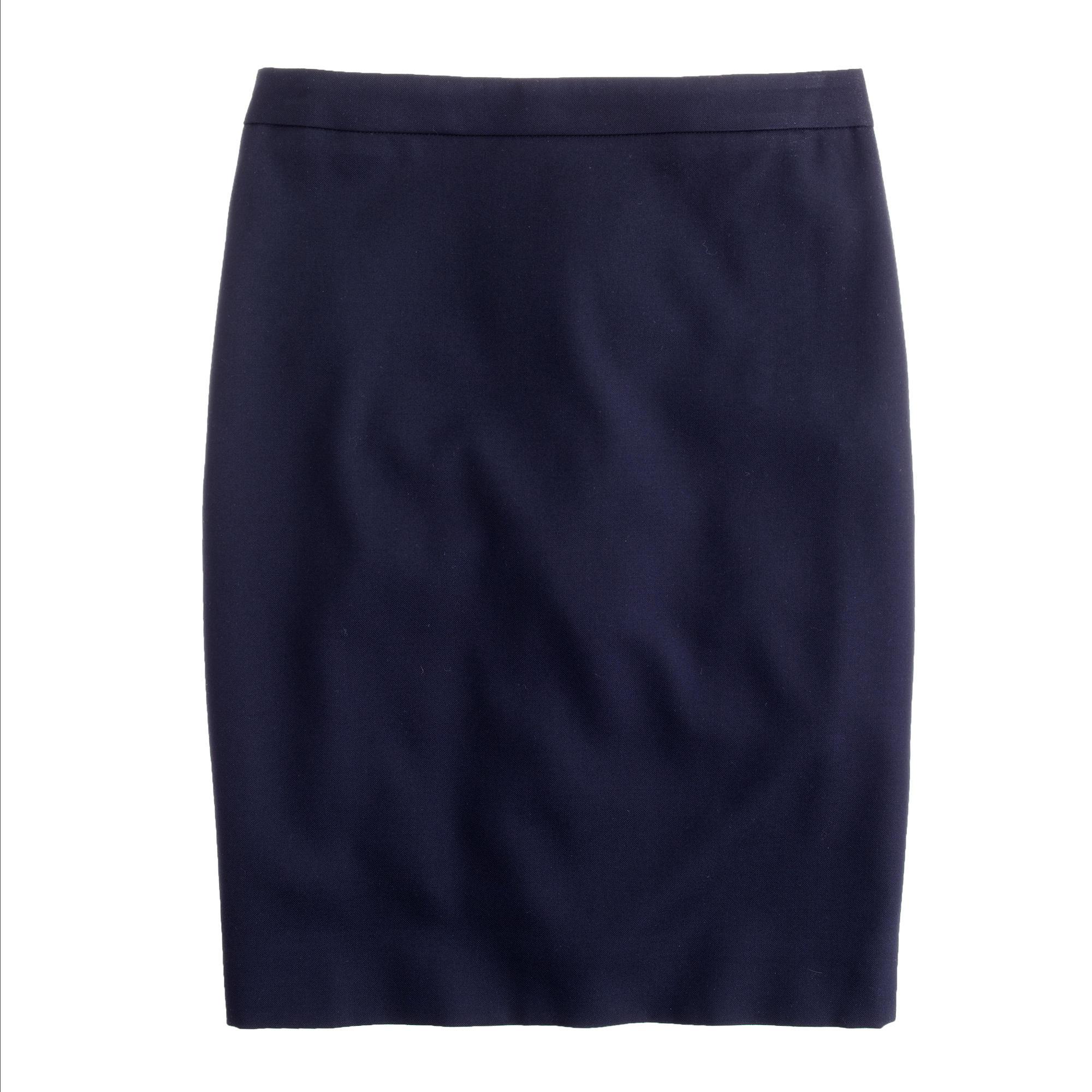 j crew pencil skirt in 120s wool in blue lyst