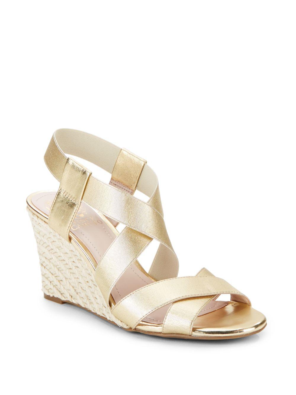Vince Camuto Hadassa Metallic Wedge Sandals Gold In