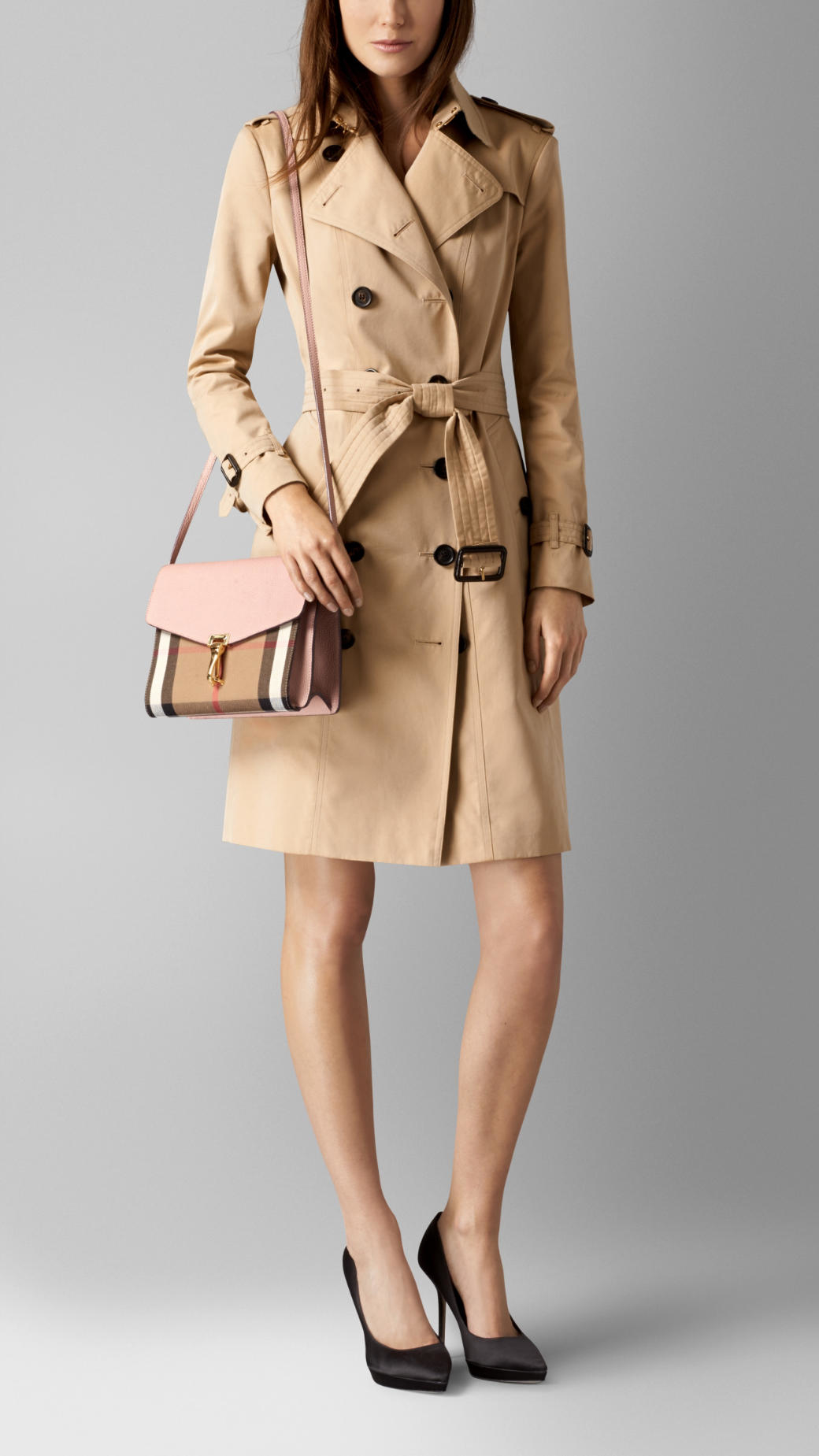 8c6698df07b Lyst - Burberry Small Leather and House-Check Cross-Body Bag in Natural
