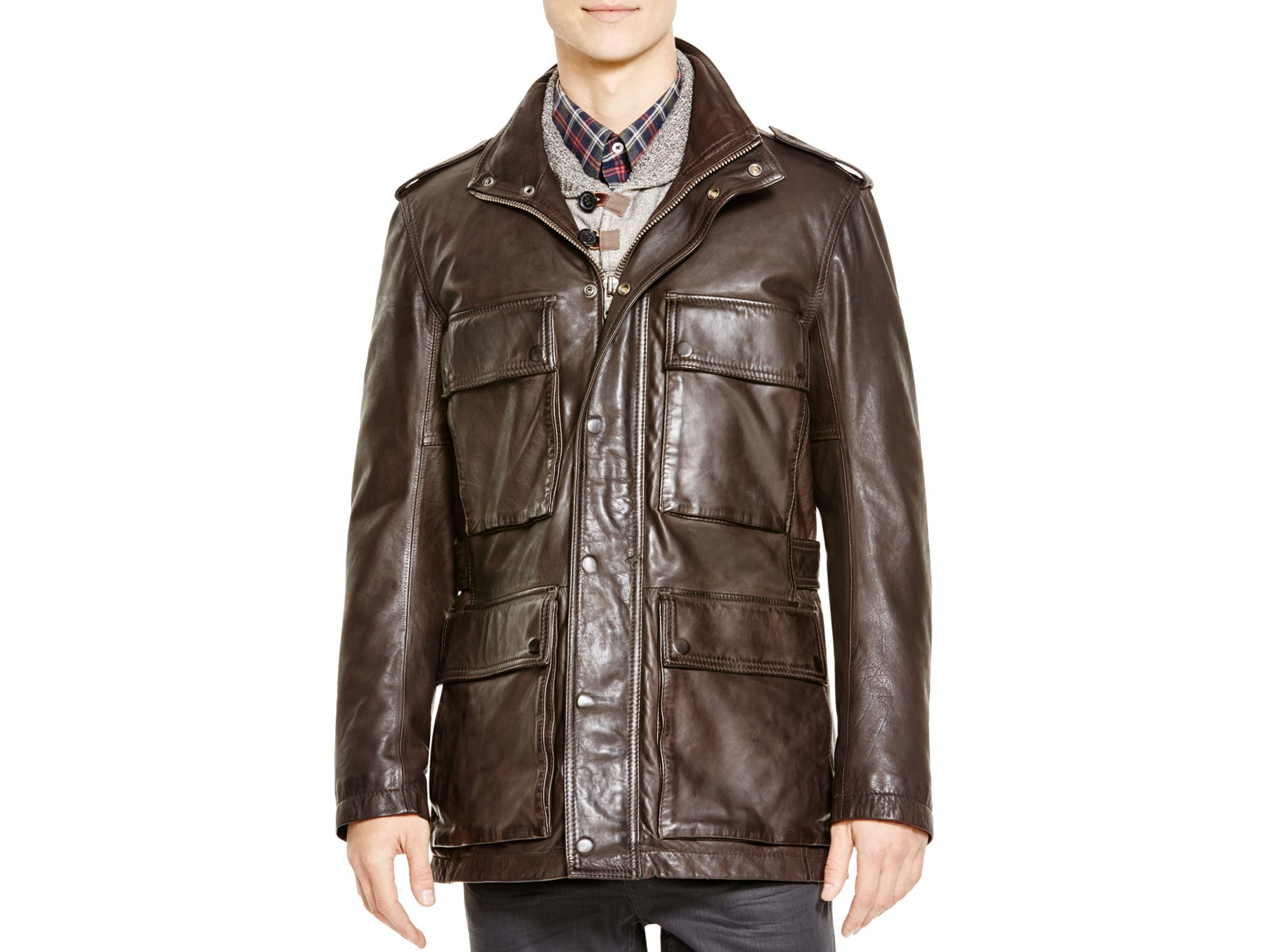 Andrew Marc Tompkins Leather Field Jacket In Brown For Men