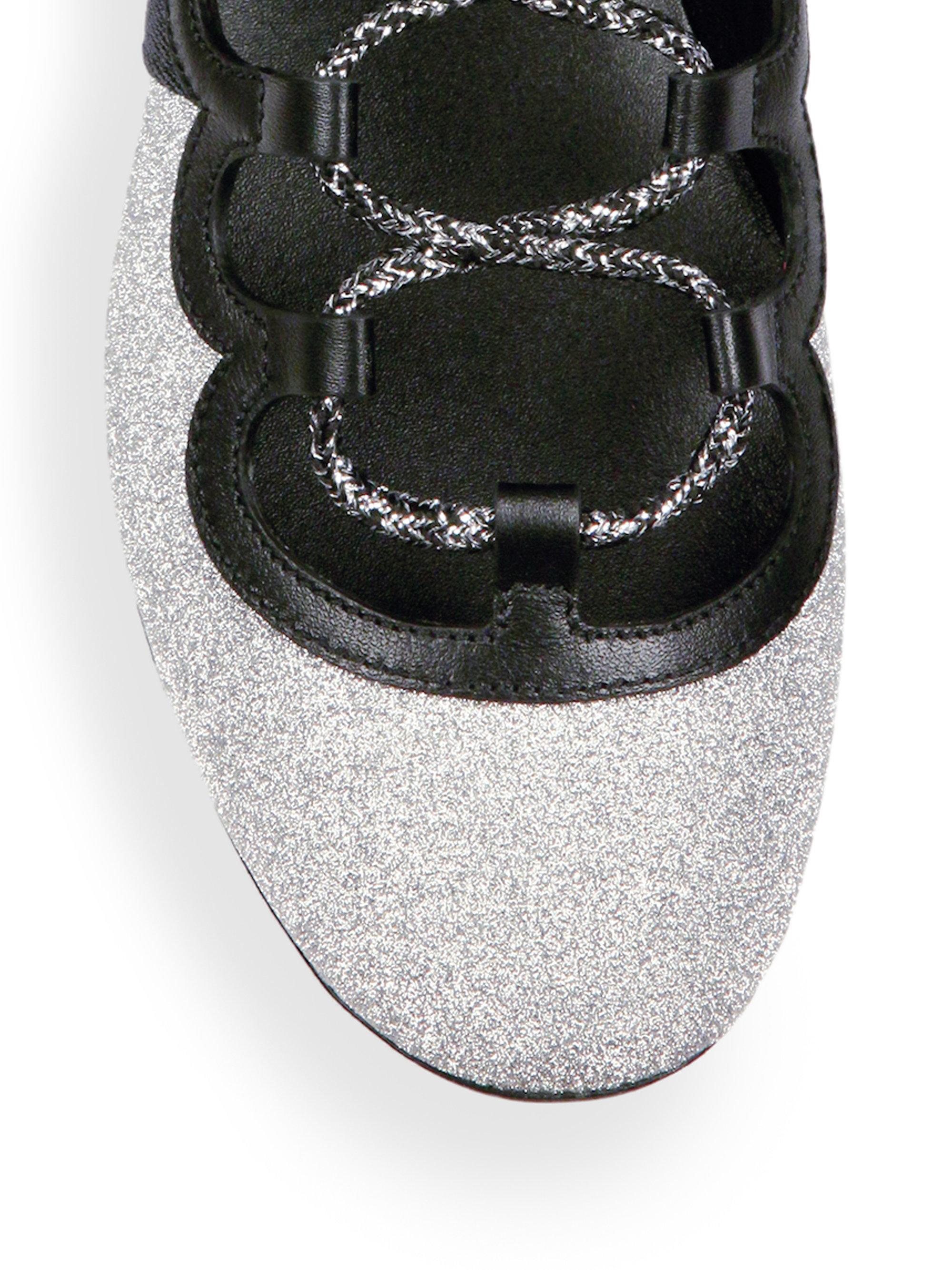 8b2ec1e0f76 Lyst - Gucci Titan Spiked Glitter Web Sneakers in Metallic