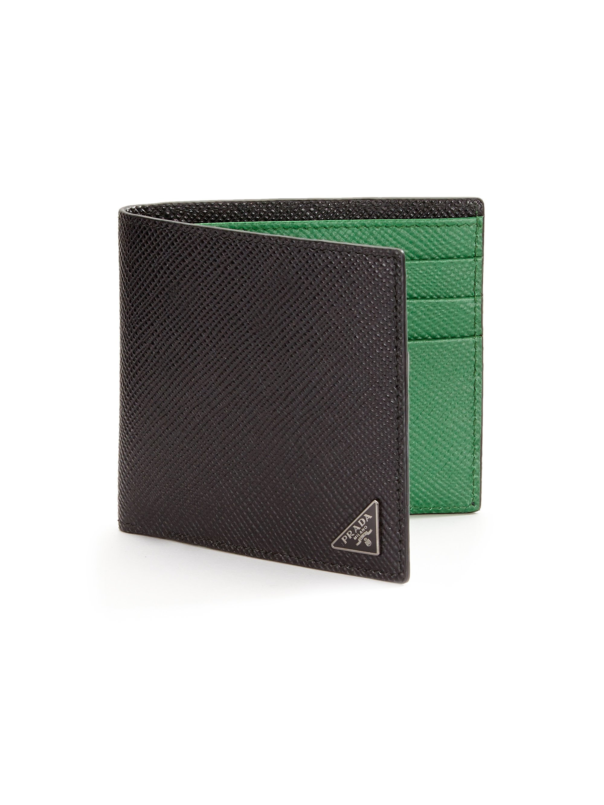 Prada Orizzontale Wallet in Green for Men (black green) | Lyst