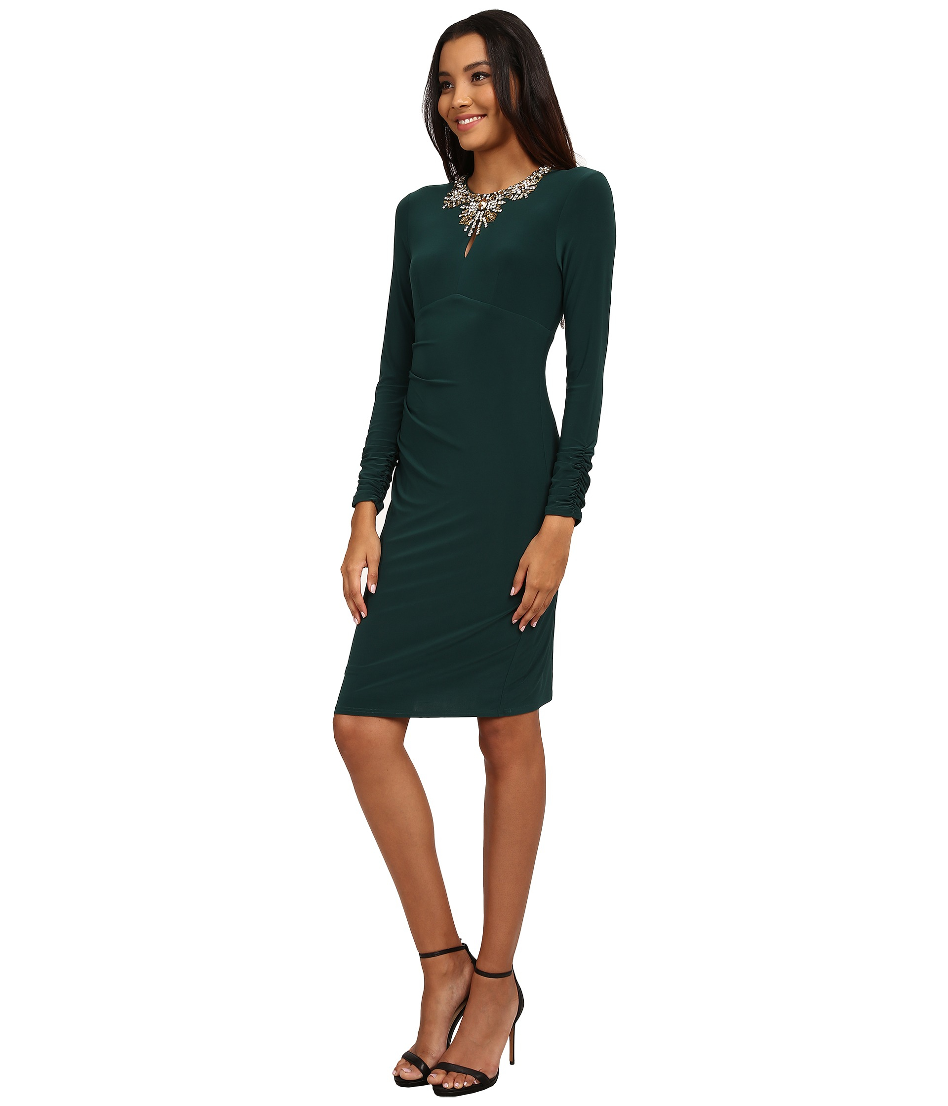 4de06474 Vince Camuto Long Sleeve Jersey Dress W/ Center Front Keyhole ...