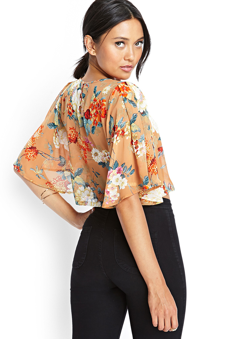 4403fa42c274 Forever 21 Sheer Floral Kimono Crop Top You've Been Added To The ...