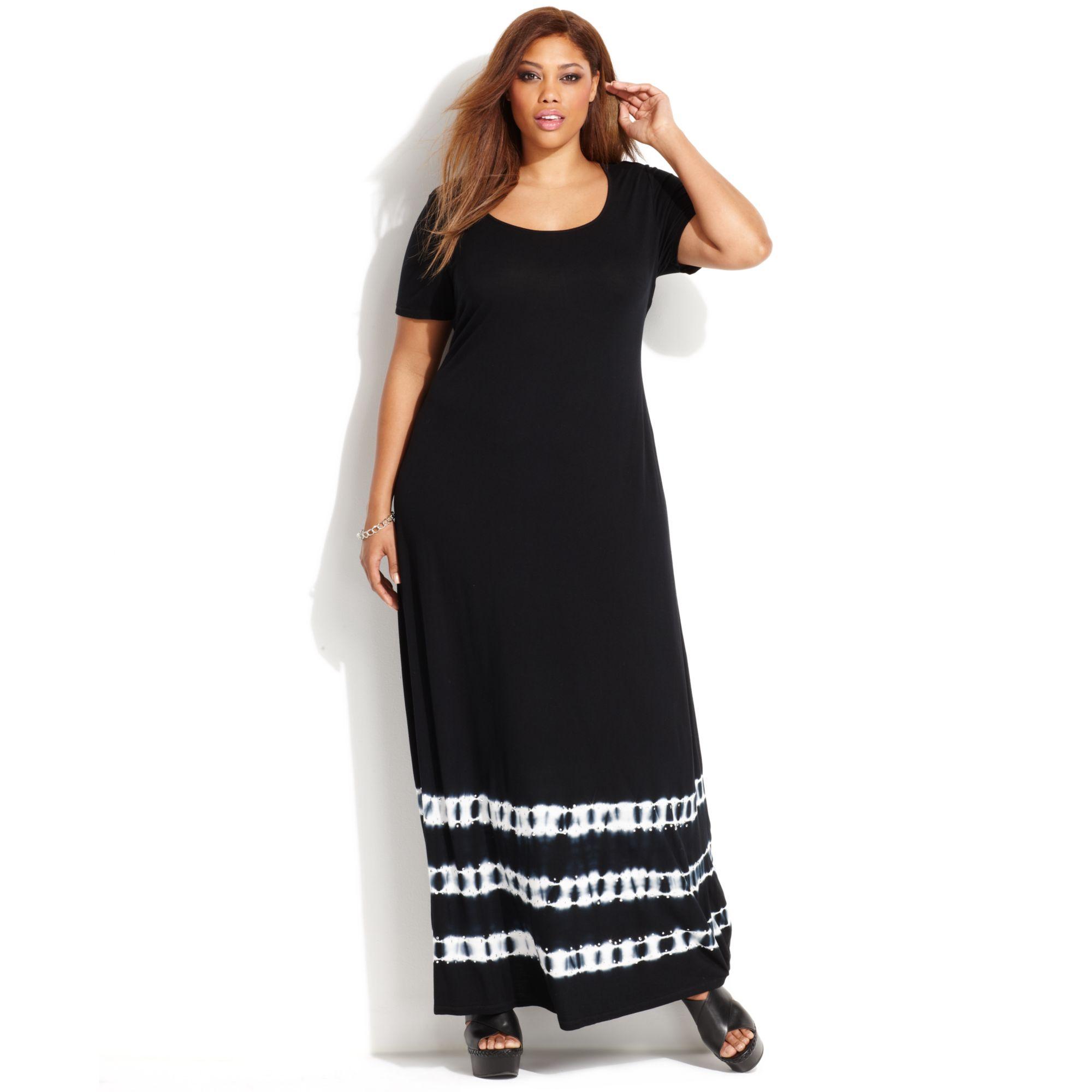 0ebb89c607323 Lyst - INC International Concepts Plus Size Tiedye Maxi Tshirt Dress ...