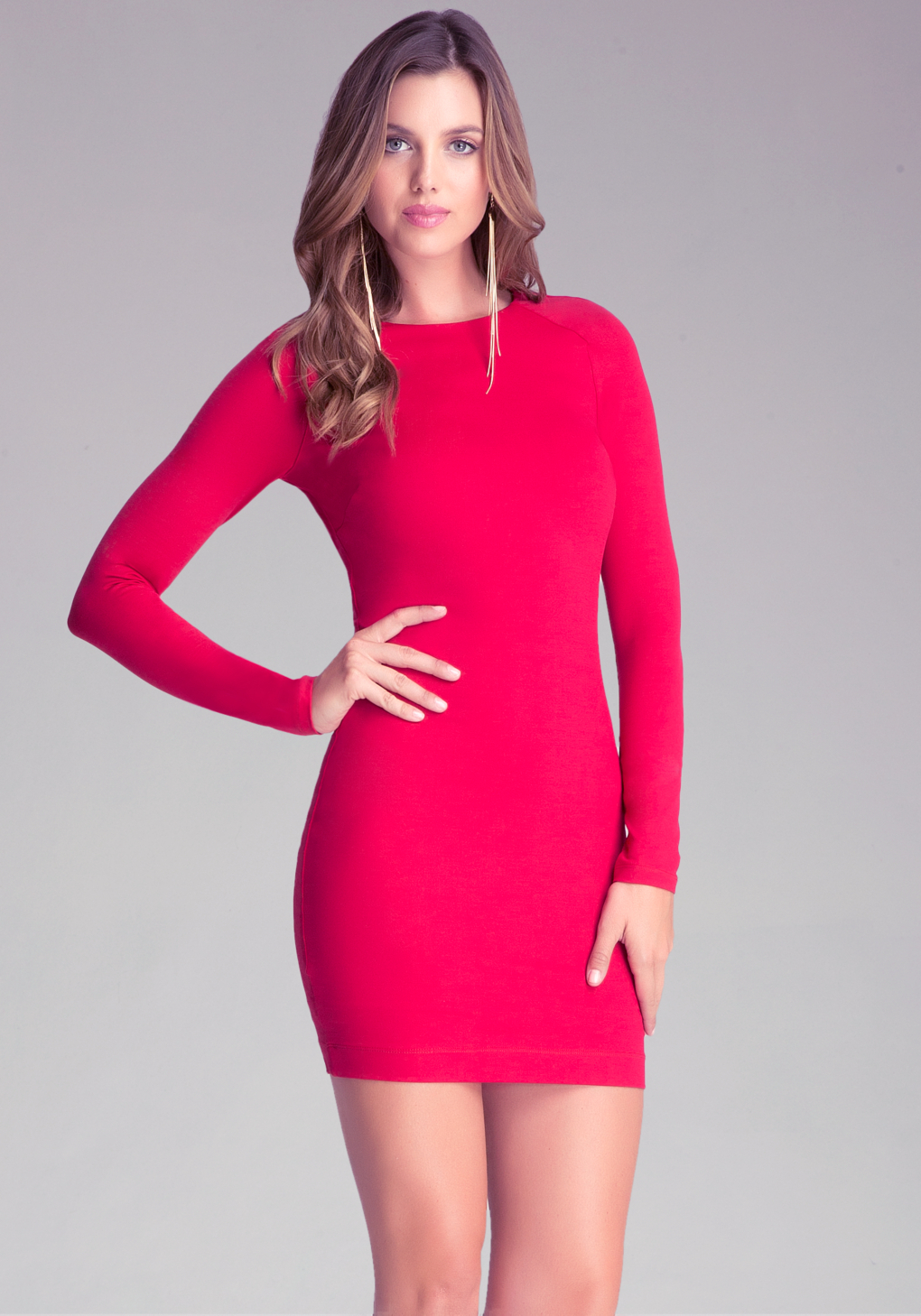 Bebe Long Sleeve Bodycon Dress in Red | Lyst