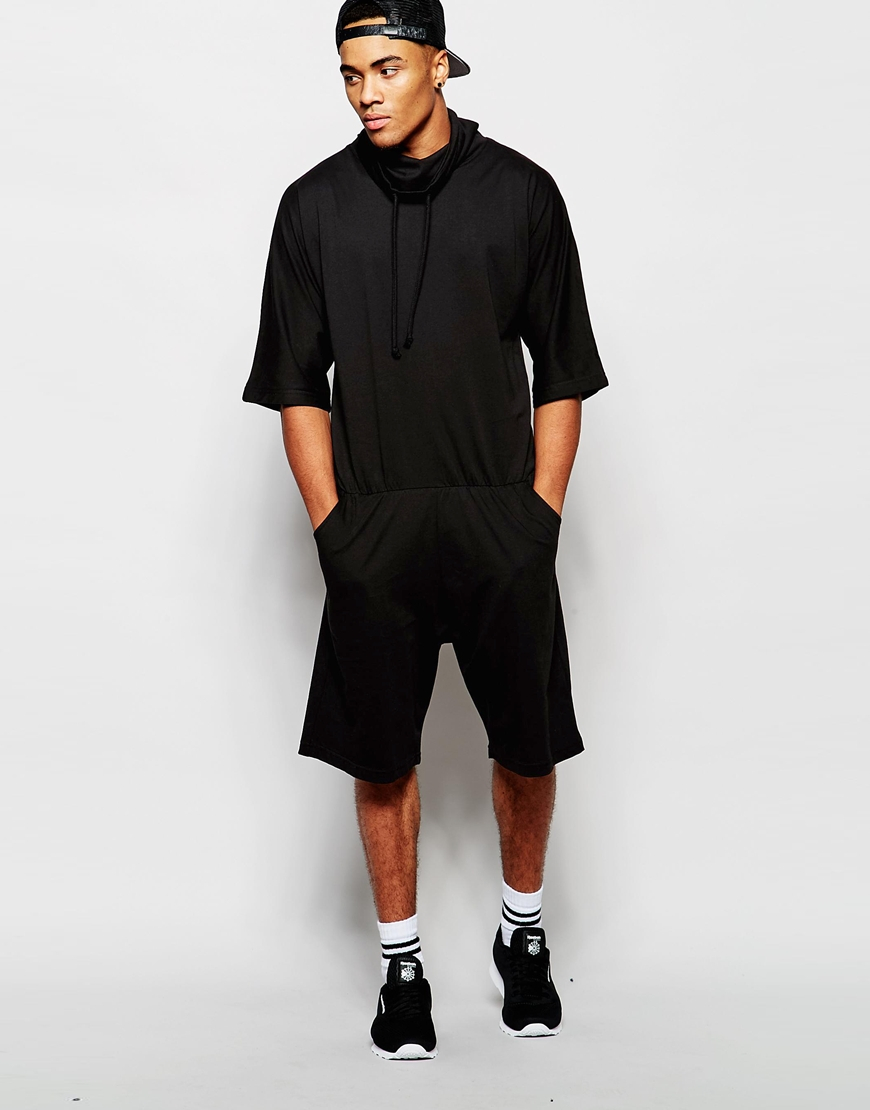 32334ff772ee Lyst - ASOS Drop Crotch Jumpsuit In Short Length in Black for Men