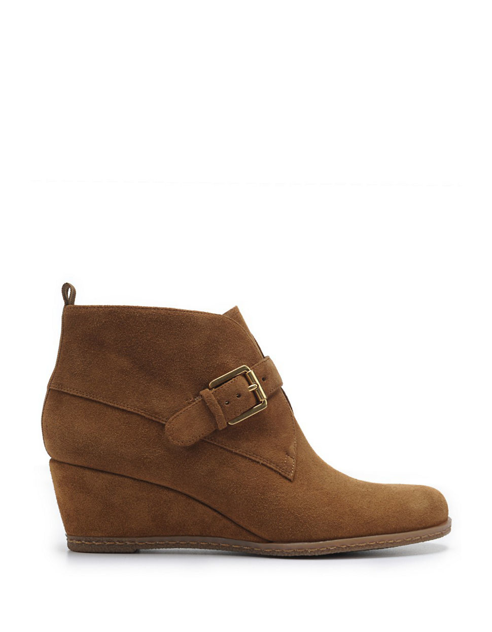 franco sarto amerosa suede wedge ankle boots in brown lyst