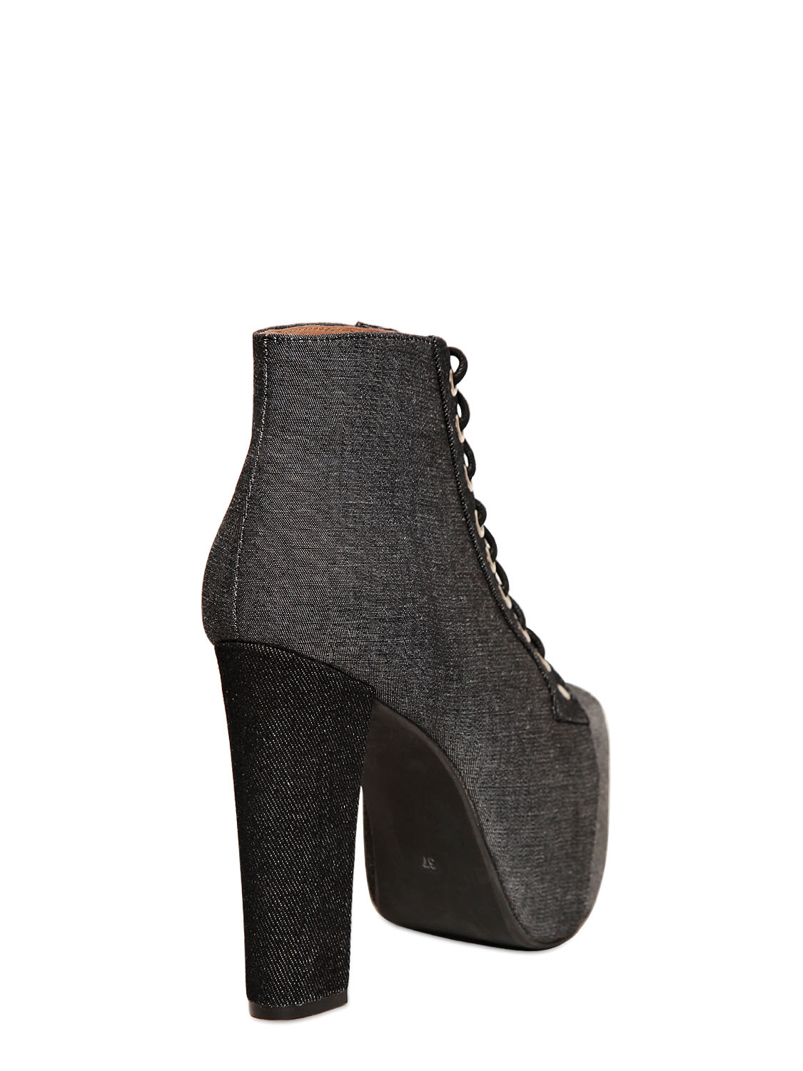 Lyst Jeffrey Campbell 120mm Lita Denim Boots In Black