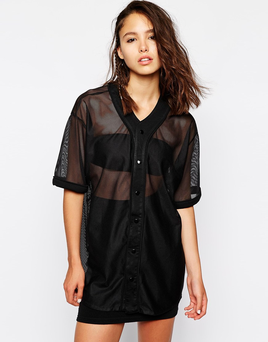 Lyst this is a love song sheer mesh baseball button up for Baseball button up t shirt dress