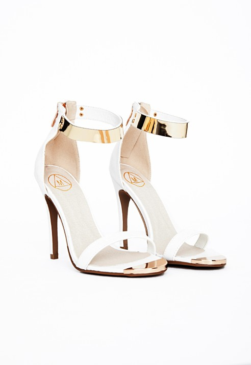 ea2911daf Lyst - Missguided Kim Gold Plate Ankle Strap Heeled Sandals White in ...